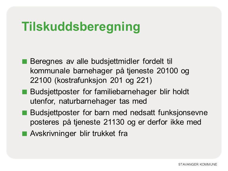 Tilskuddsberegning Beregnes av alle budsjettmidler fordelt til kommunale barnehager på tjeneste 20100 og 22100 (kostrafunksjon 201 og 221)
