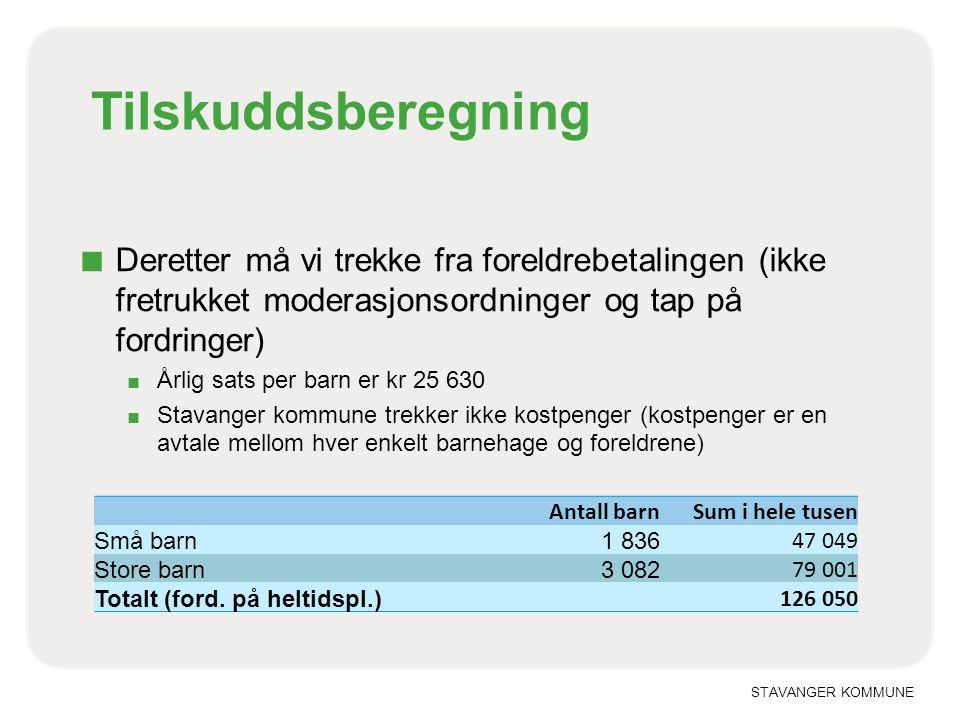 Tilskuddsberegning Deretter må vi trekke fra foreldrebetalingen (ikke fretrukket moderasjonsordninger og tap på fordringer)