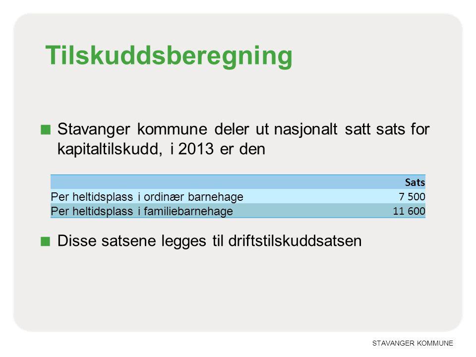 Tilskuddsberegning Stavanger kommune deler ut nasjonalt satt sats for kapitaltilskudd, i 2013 er den.