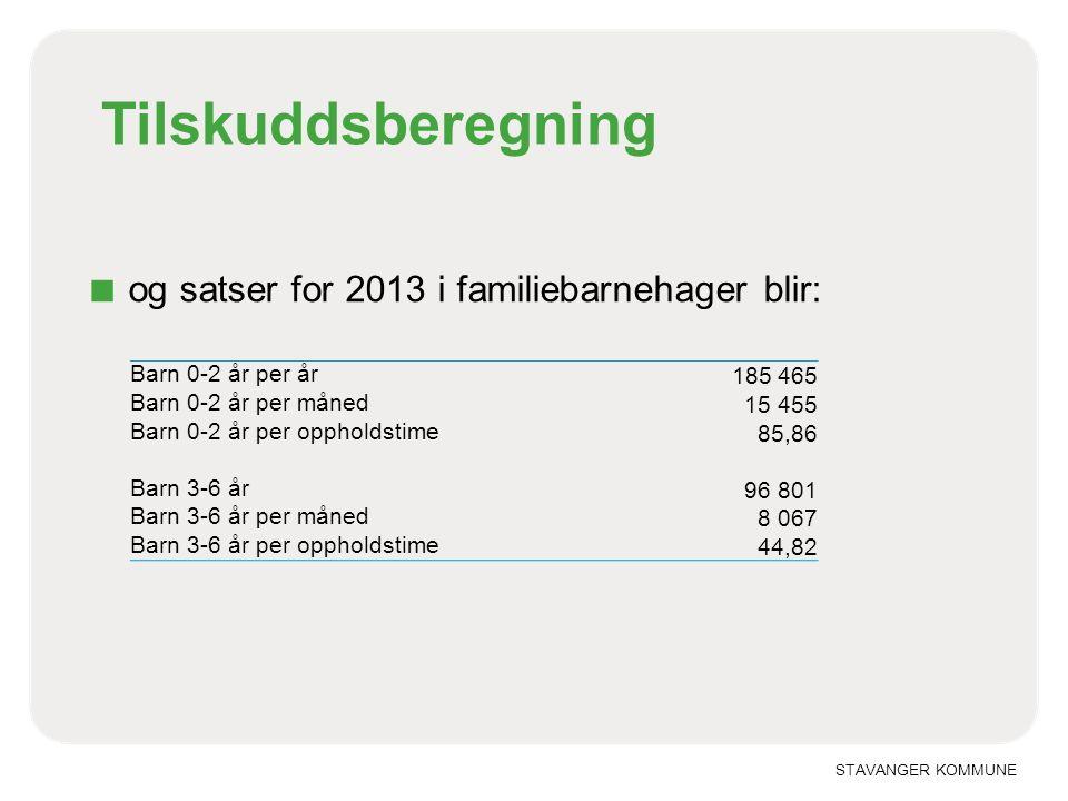 Tilskuddsberegning og satser for 2013 i familiebarnehager blir: