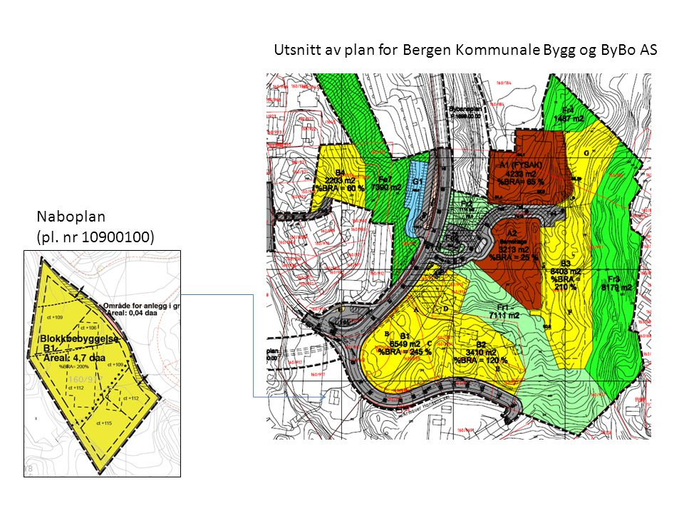 Utsnitt av plan for Bergen Kommunale Bygg og ByBo AS