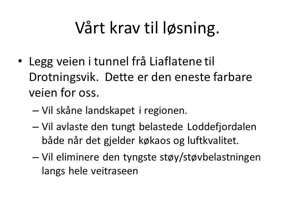 Vårt krav til løsning. Legg veien i tunnel frå Liaflatene til Drotningsvik. Dette er den eneste farbare veien for oss.
