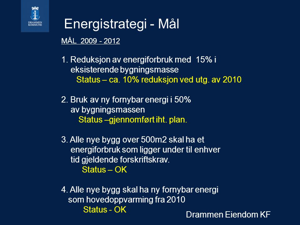 Energistrategi - Mål 1. Reduksjon av energiforbruk med 15% i