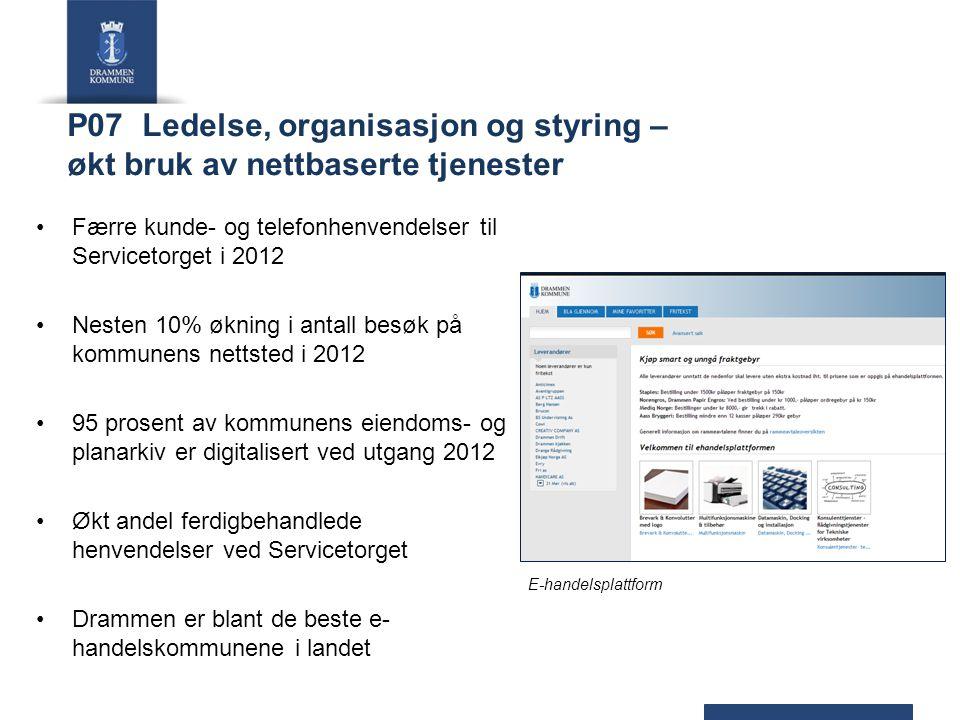 P07 Ledelse, organisasjon og styring – økt bruk av nettbaserte tjenester