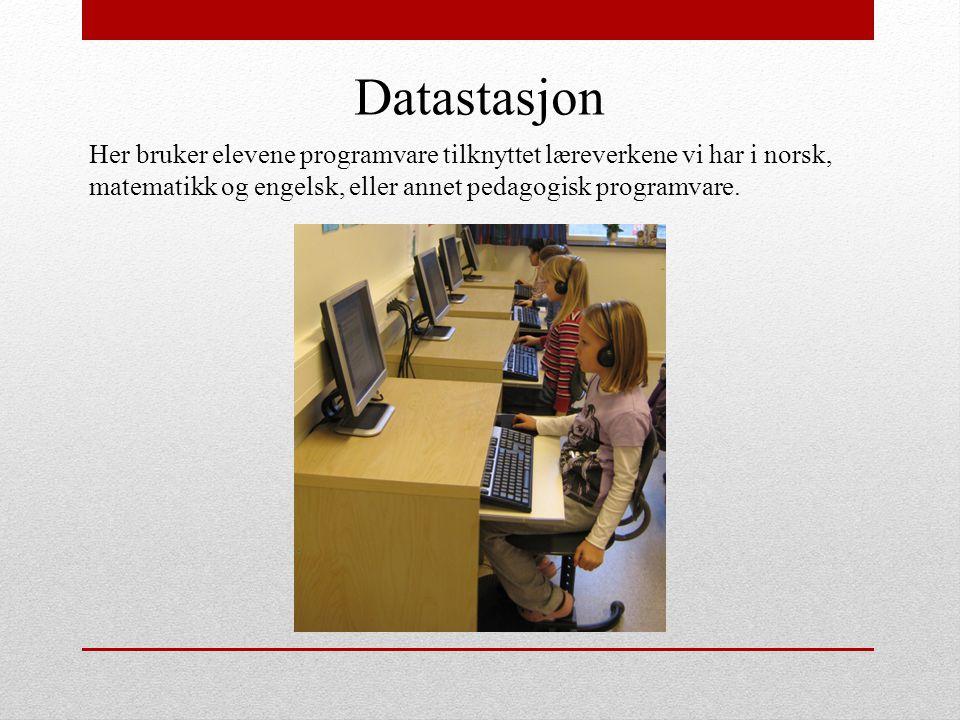 Datastasjon Her bruker elevene programvare tilknyttet læreverkene vi har i norsk, matematikk og engelsk, eller annet pedagogisk programvare.