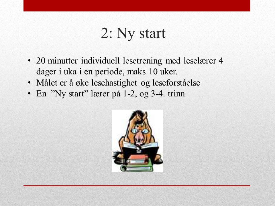 2: Ny start 20 minutter individuell lesetrening med leselærer 4 dager i uka i en periode, maks 10 uker.