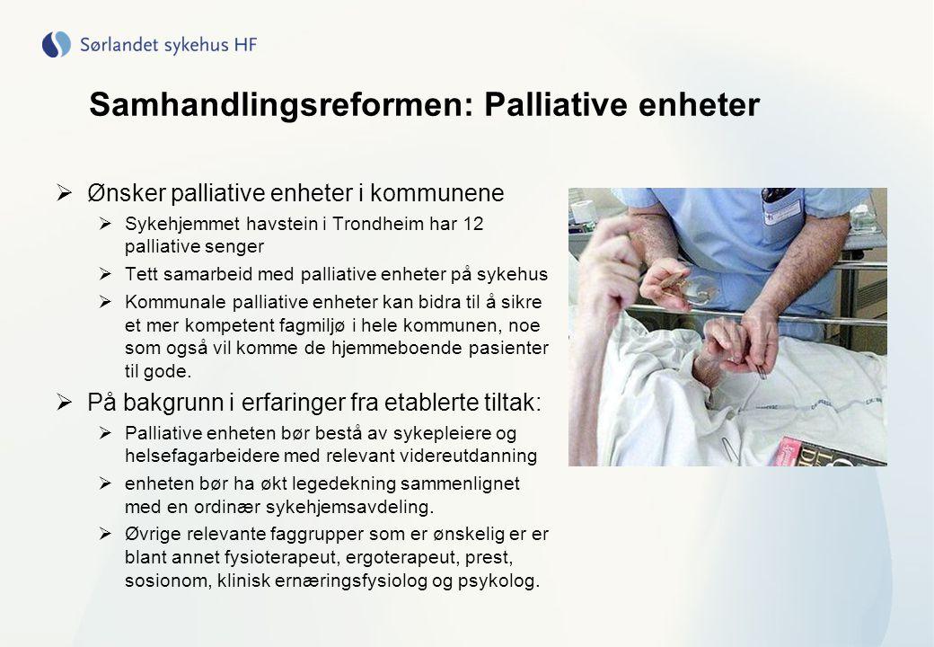 Samhandlingsreformen: Palliative enheter