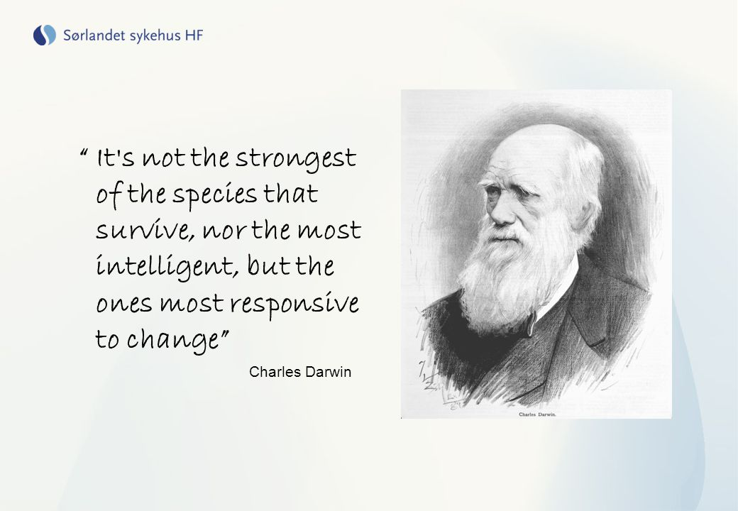 It s not the strongest of the species that survive, nor the most intelligent, but the ones most responsive to change
