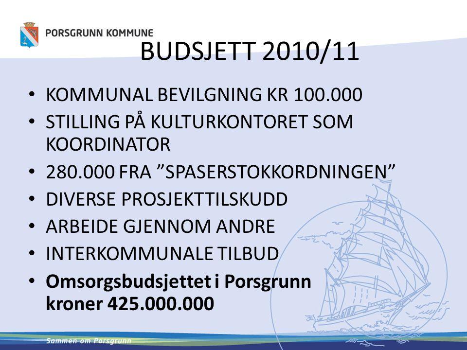 BUDSJETT 2010/11 KOMMUNAL BEVILGNING KR 100.000
