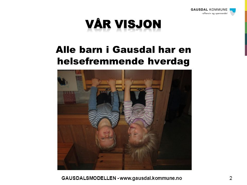 Vår visjon Alle barn i Gausdal har en helsefremmende hverdag