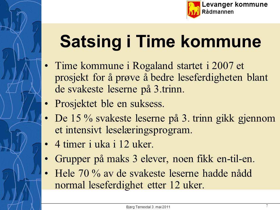 Satsing i Time kommune Time kommune i Rogaland startet i 2007 et prosjekt for å prøve å bedre leseferdigheten blant de svakeste leserne på 3.trinn.