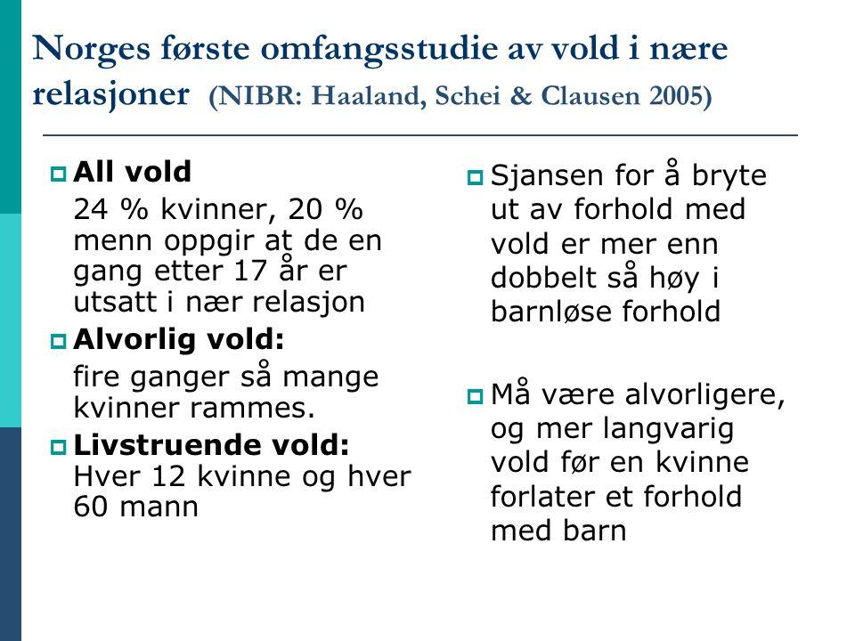 Norges første omfangsstudie av vold i nære relasjoner (NIBR: Haaland, Schei & Clausen 2005)