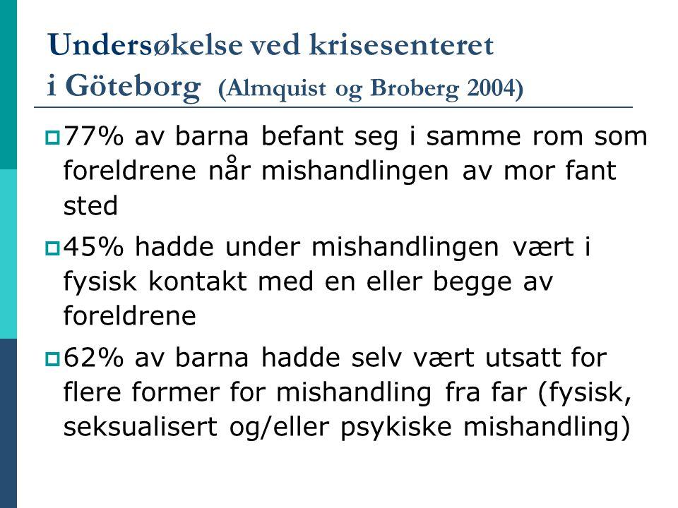 Undersøkelse ved krisesenteret i Göteborg (Almquist og Broberg 2004)