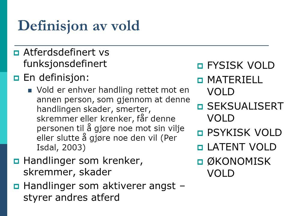 Definisjon av vold FYSISK VOLD MATERIELL VOLD SEKSUALISERT VOLD