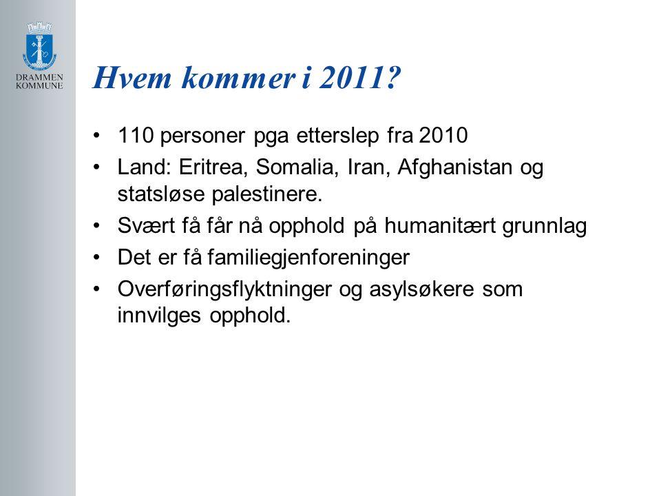 Hvem kommer i 2011 110 personer pga etterslep fra 2010