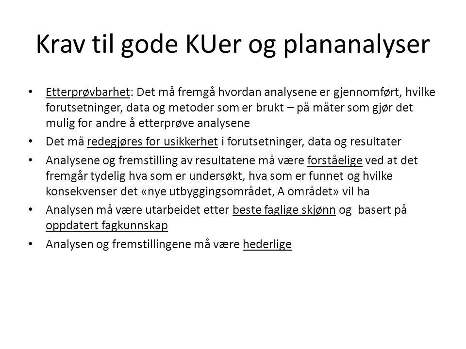 Krav til gode KUer og plananalyser