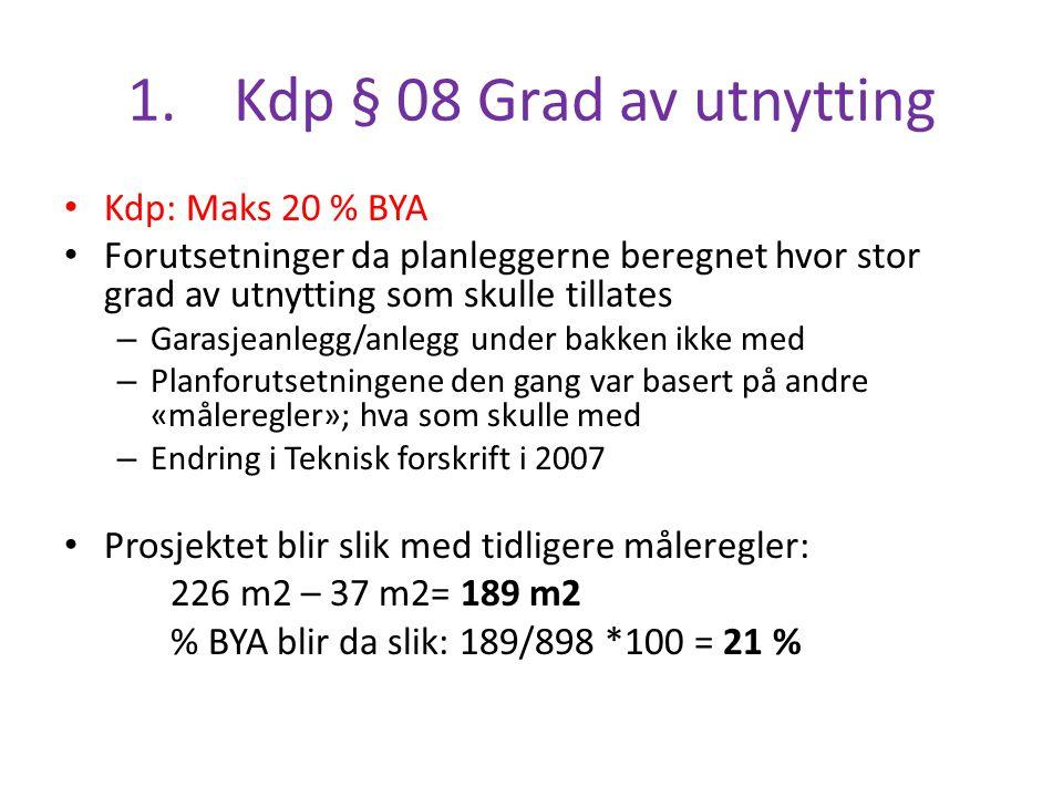 1. Kdp § 08 Grad av utnytting Kdp: Maks 20 % BYA