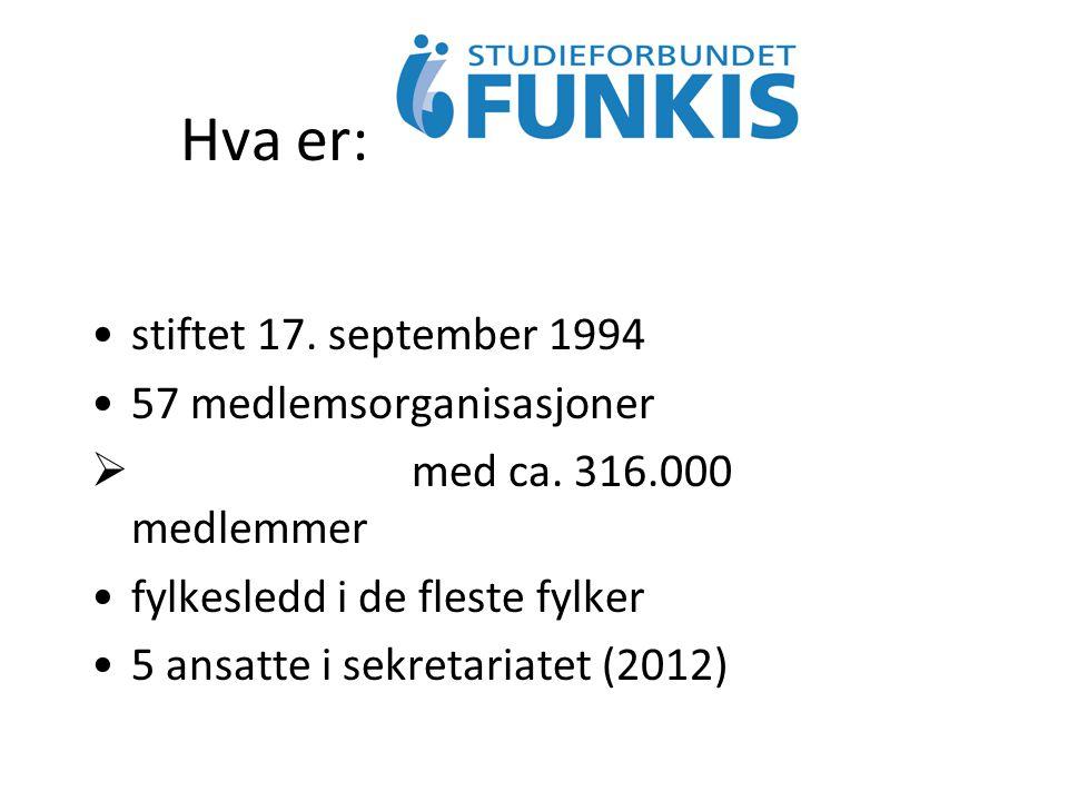 Hva er: stiftet 17. september 1994 57 medlemsorganisasjoner