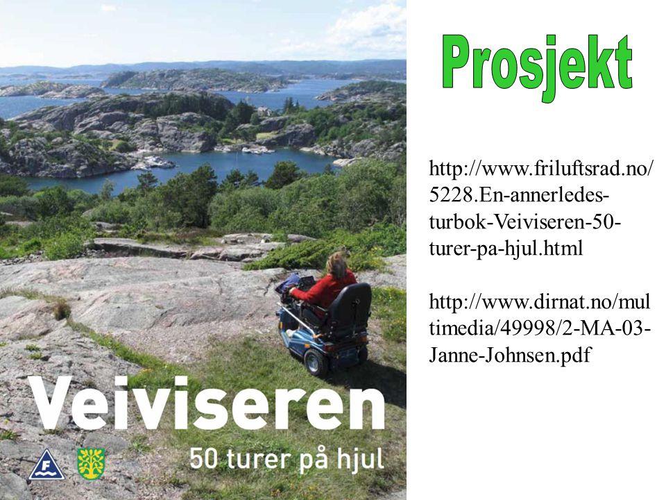 Prosjekt http://www.friluftsrad.no/5228.En-annerledes-turbok-Veiviseren-50-turer-pa-hjul.html.