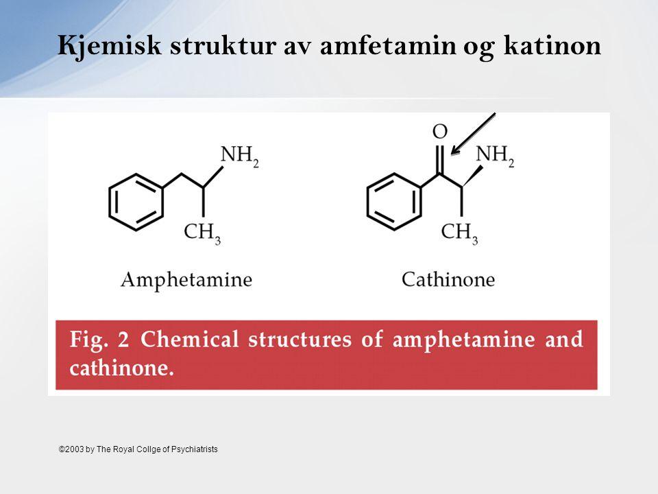 Kjemisk struktur av amfetamin og katinon