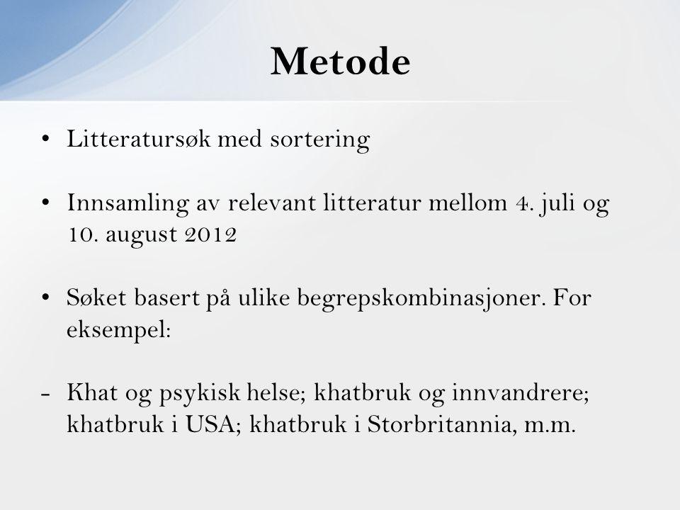 Metode Litteratursøk med sortering