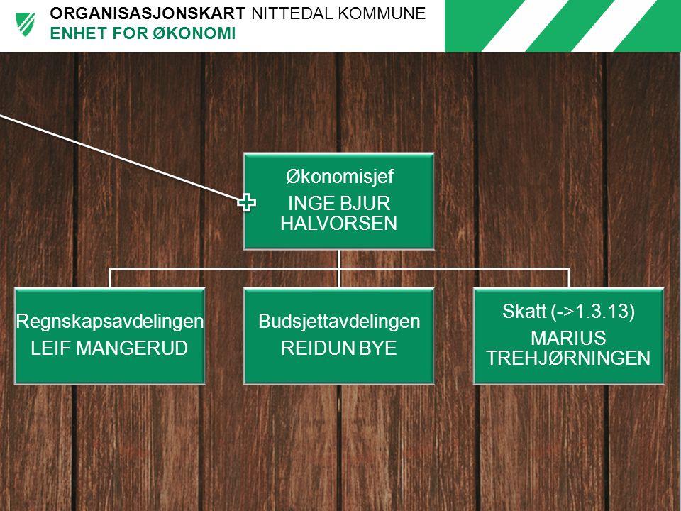 ENHET FOR ØKONOMI INGE BJUR HALVORSEN Økonomisjef Regnskapsavdelingen