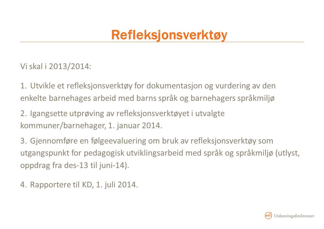 Refleksjonsverktøy Vi skal i 2013/2014: