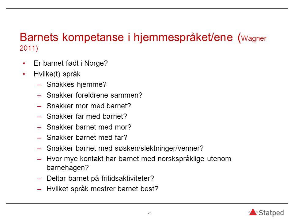 Barnets kompetanse i hjemmespråket/ene (Wagner 2011)