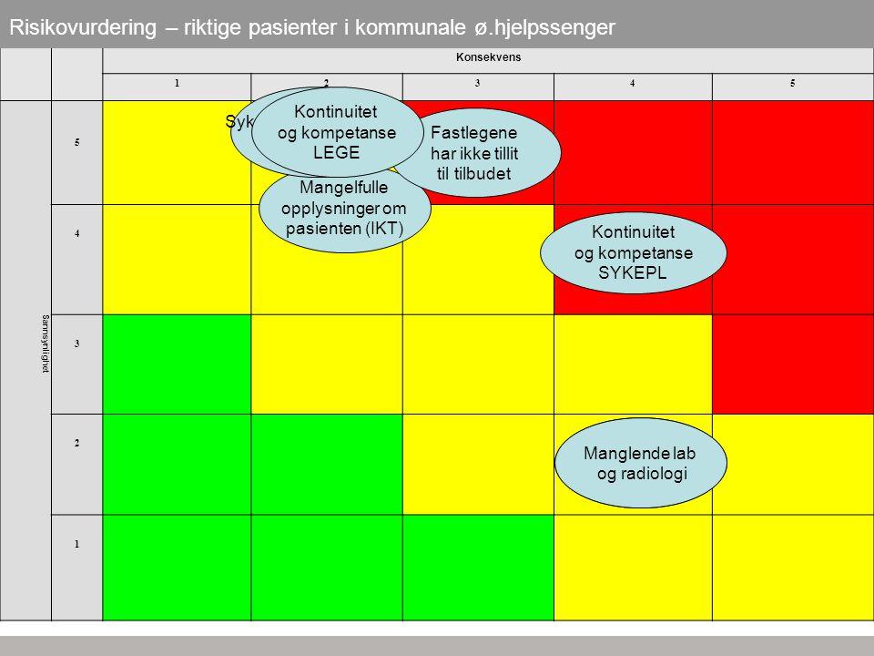 Risikovurdering – riktige pasienter i kommunale ø.hjelpssenger