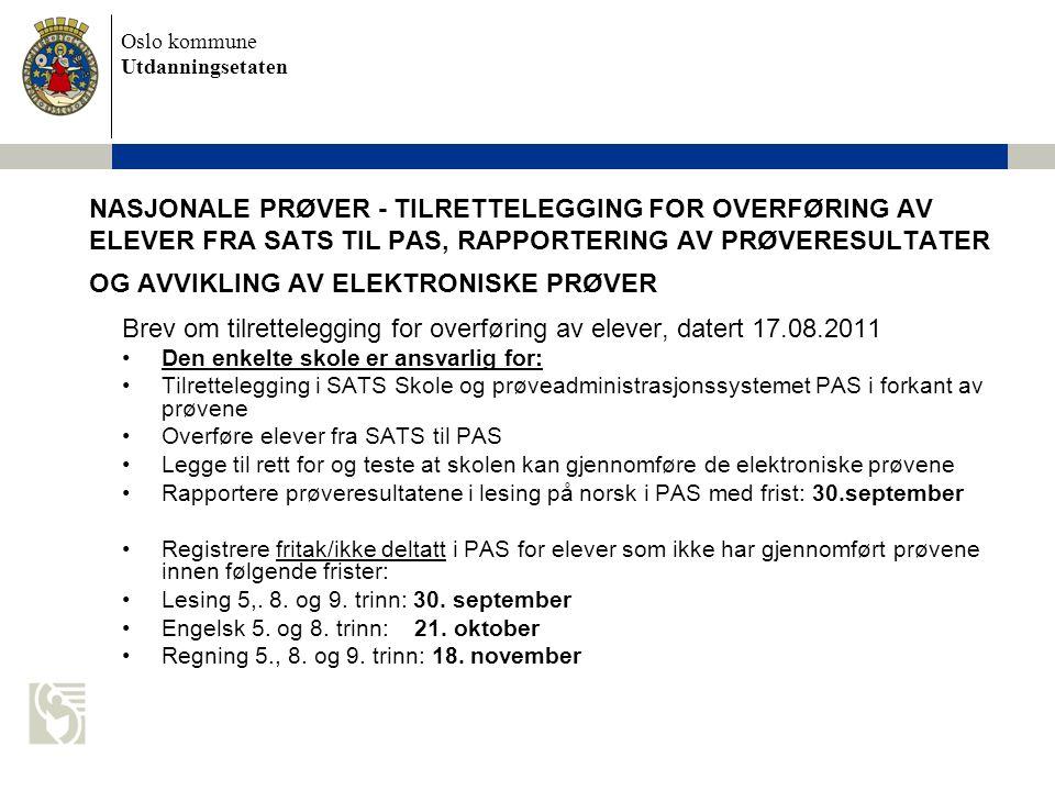 Brev om tilrettelegging for overføring av elever, datert 17.08.2011