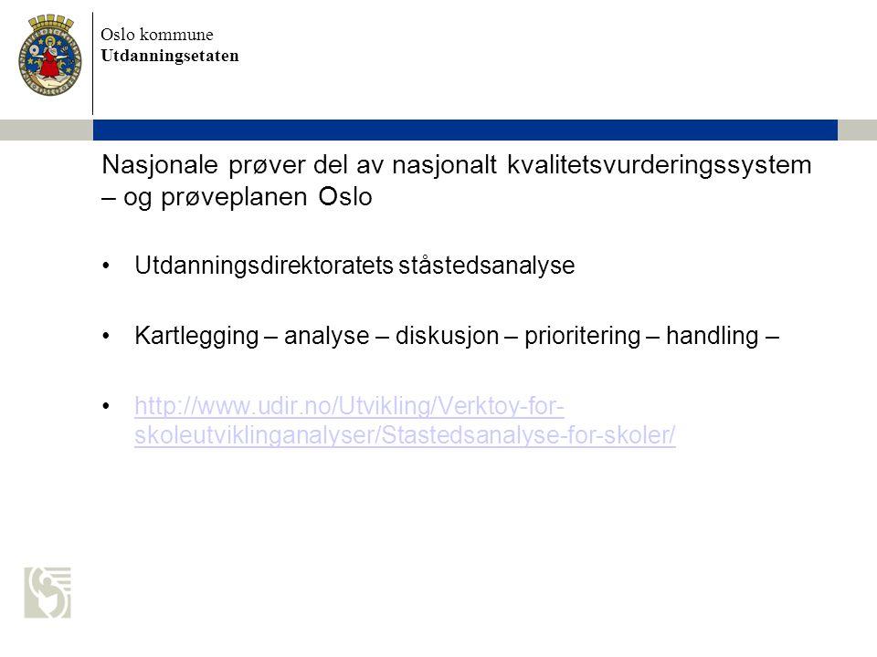 Nasjonale prøver del av nasjonalt kvalitetsvurderingssystem – og prøveplanen Oslo