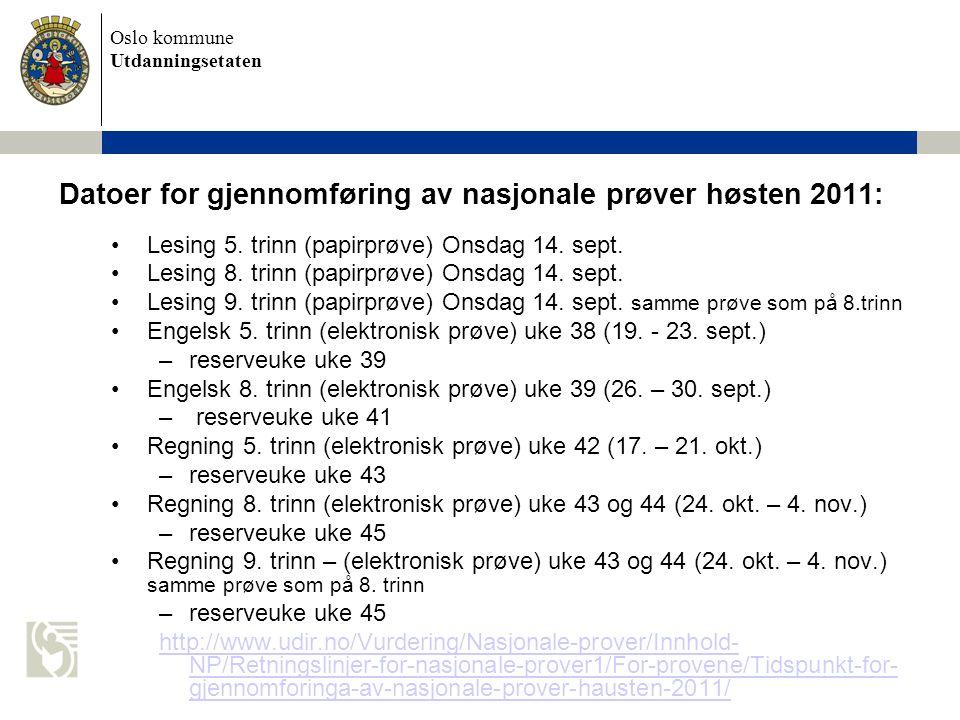 Datoer for gjennomføring av nasjonale prøver høsten 2011: