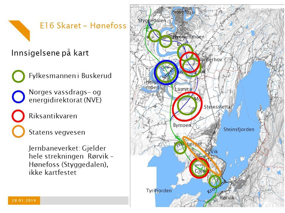 E16 Skaret - Hønefoss Innsigelsene på kart Fylkesmannen i Buskerud
