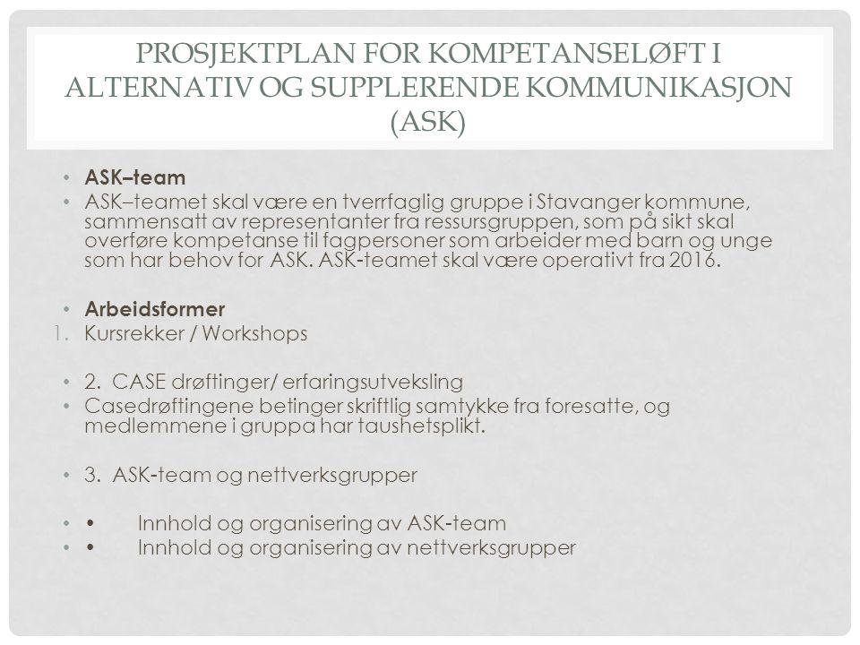 PROSJEKTPLAN FOR KOMPETANSELØFT I ALTERNATIV OG SUPPLERENDE KOMMUNIKASJON (ASK)