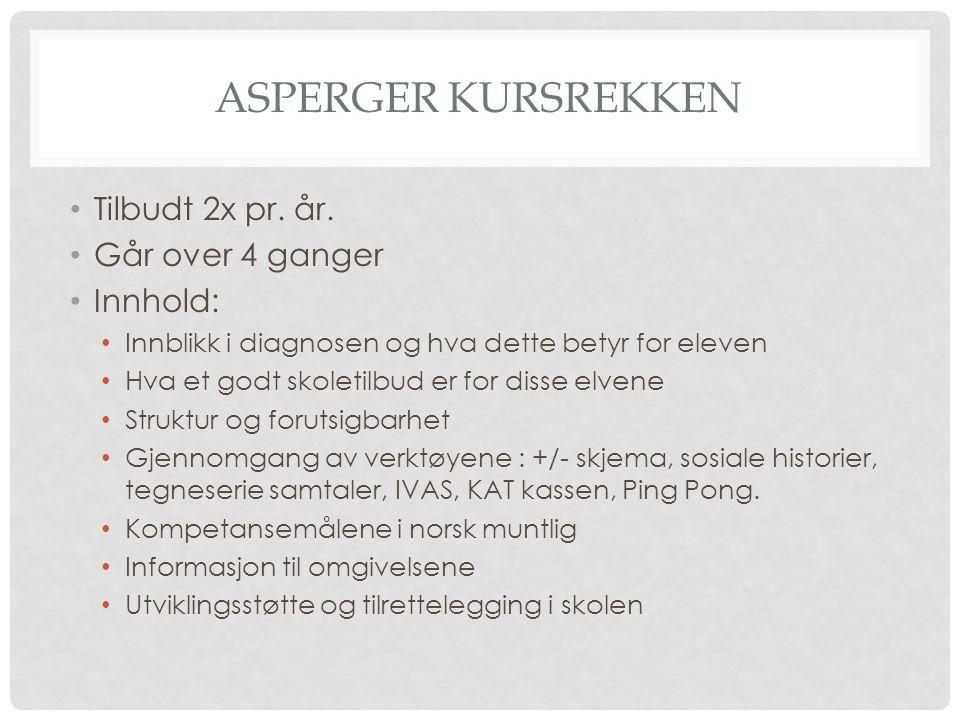 Asperger kursrekken Tilbudt 2x pr. år. Går over 4 ganger Innhold: