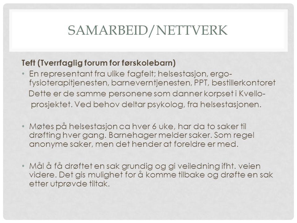 Samarbeid/Nettverk Teft (Tverrfaglig forum for førskolebarn)