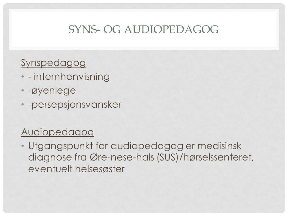 Syns- og audiopedagog Synspedagog - internhenvisning -øyenlege