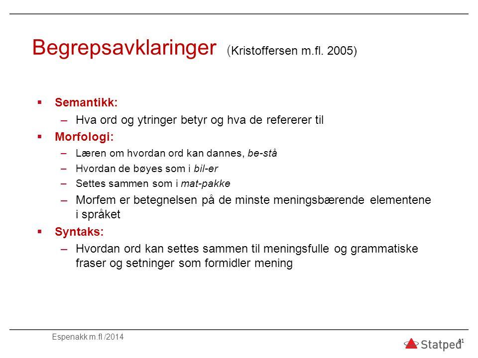 Begrepsavklaringer (Kristoffersen m.fl. 2005)