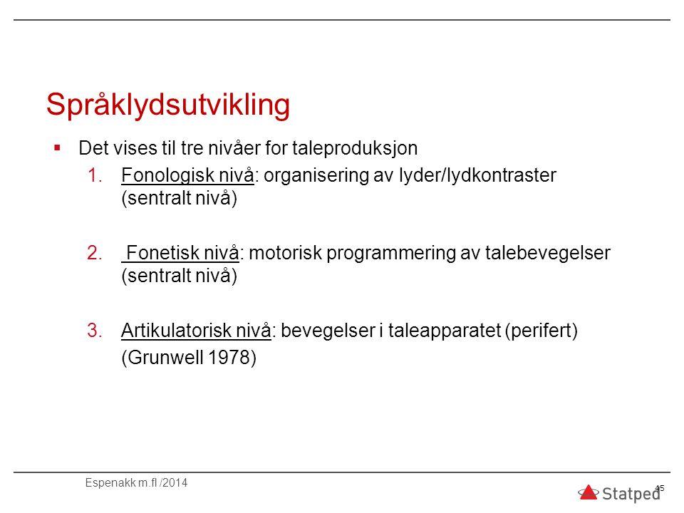 Språklydsutvikling Det vises til tre nivåer for taleproduksjon