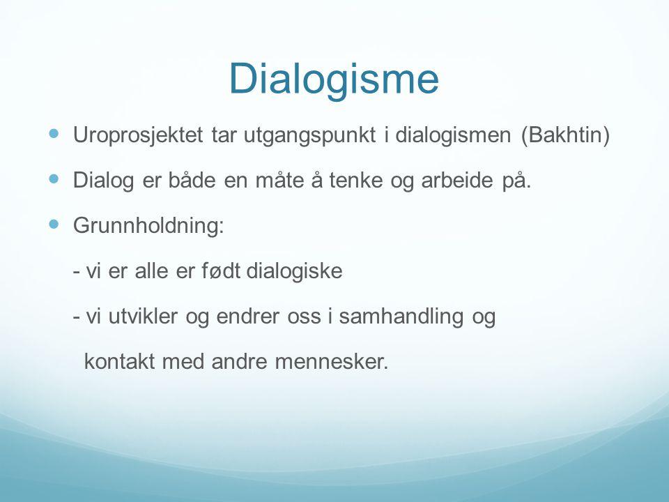 Dialogisme Uroprosjektet tar utgangspunkt i dialogismen (Bakhtin)