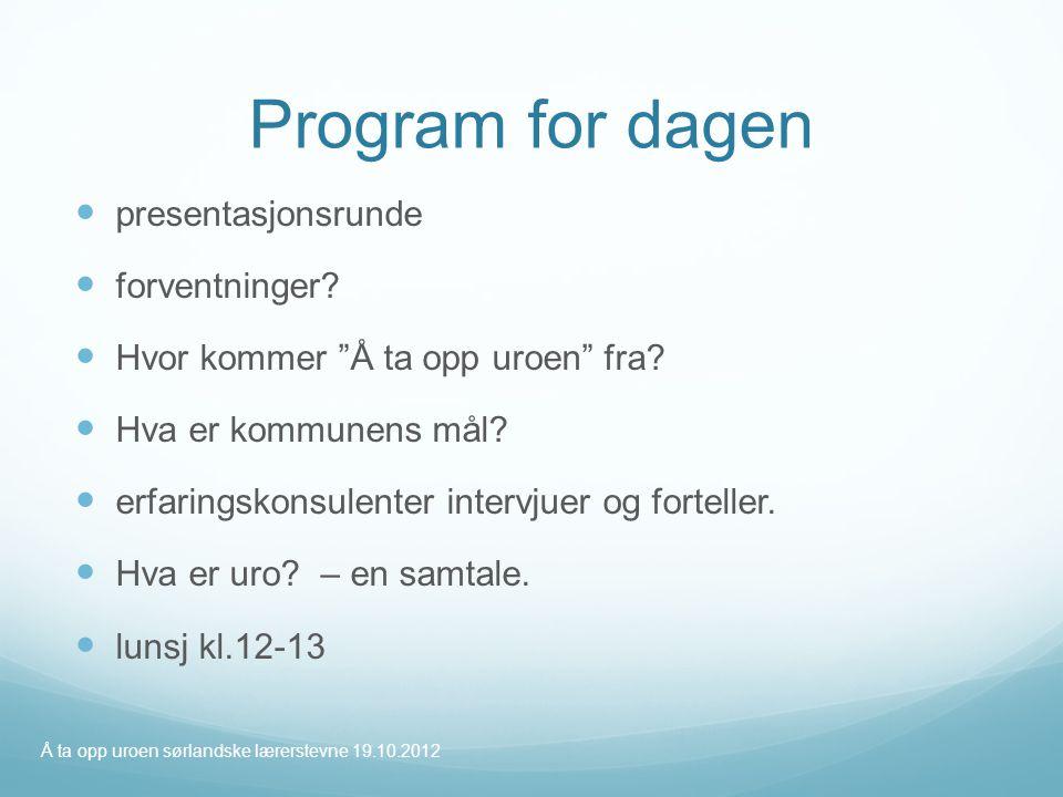 Program for dagen presentasjonsrunde forventninger
