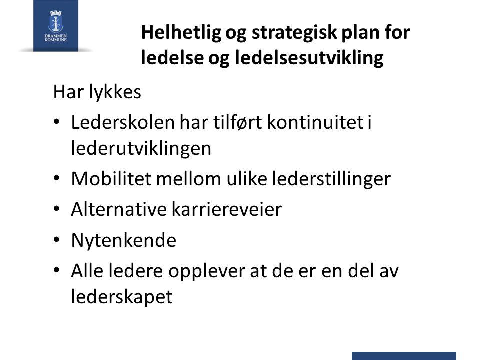 Helhetlig og strategisk plan for ledelse og ledelsesutvikling