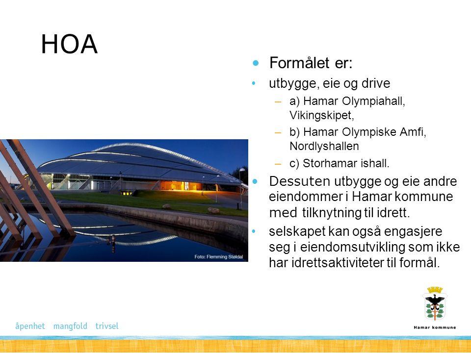 HOA Formålet er: utbygge, eie og drive