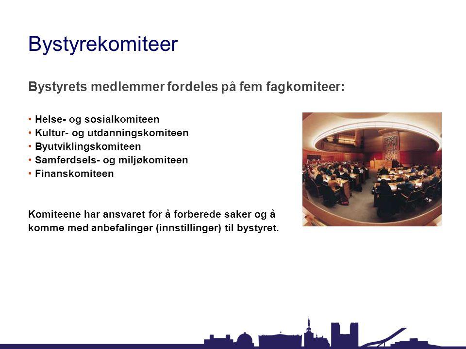 Bystyrekomiteer Bystyrets medlemmer fordeles på fem fagkomiteer: