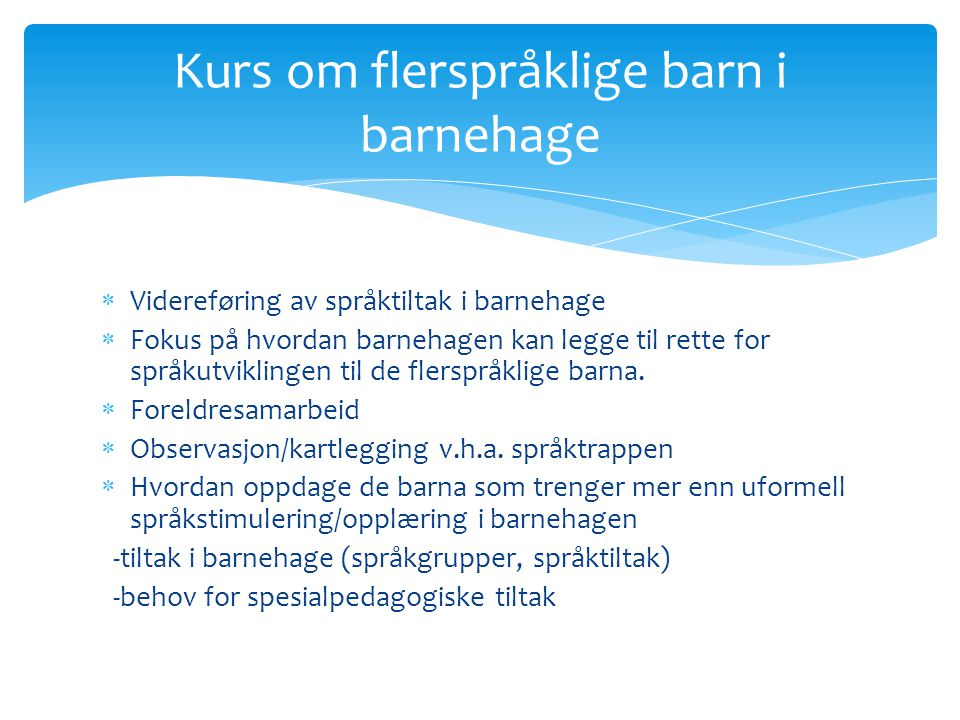 Kurs om flerspråklige barn i barnehage