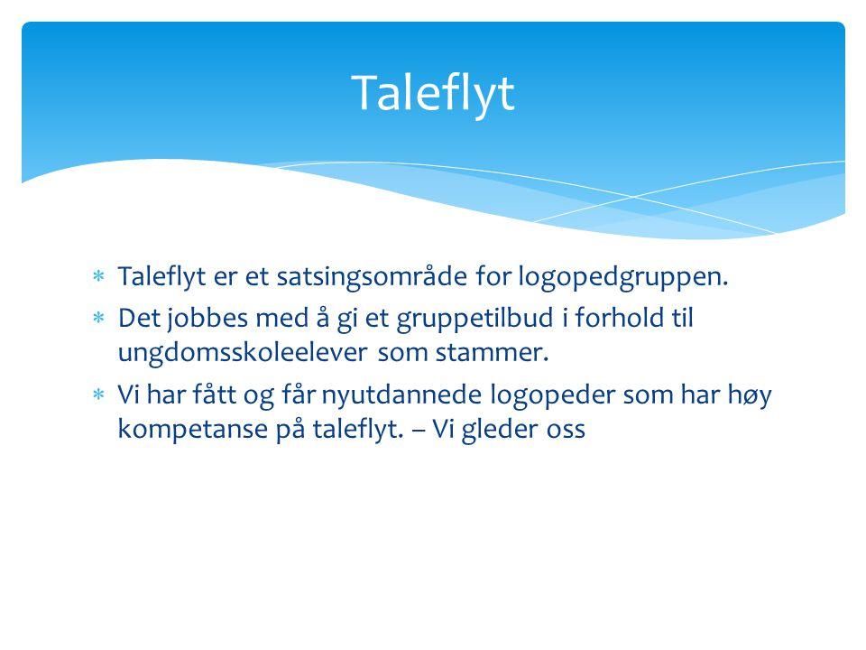 Taleflyt Taleflyt er et satsingsområde for logopedgruppen.