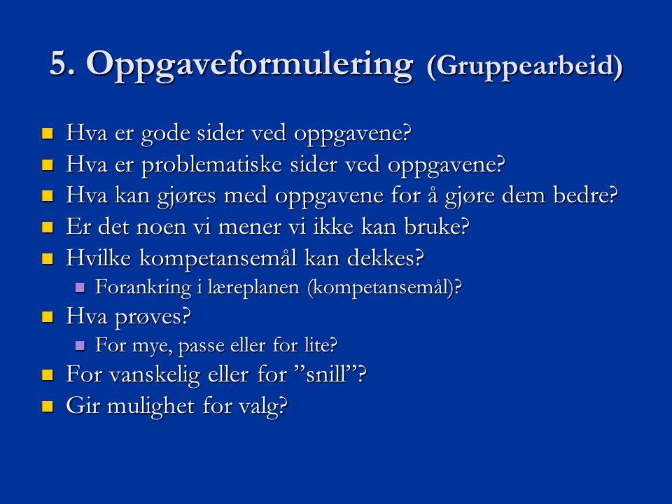 5. Oppgaveformulering (Gruppearbeid)