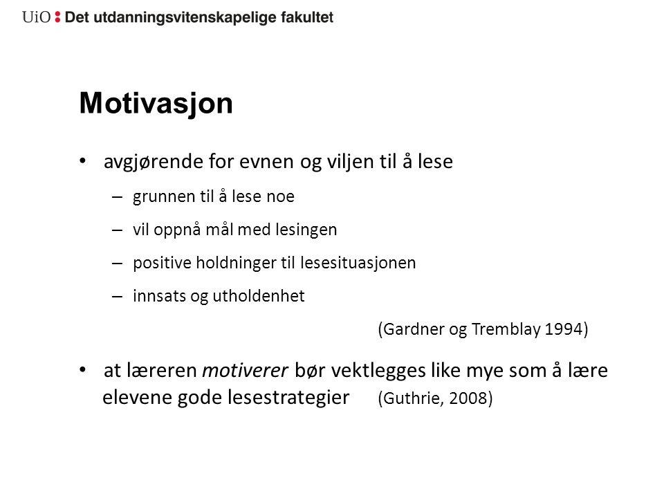 Motivasjon avgjørende for evnen og viljen til å lese