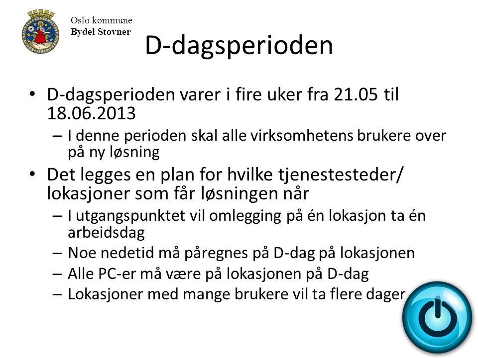 D-dagsperioden Oslo kommune. Bydel Stovner. D-dagsperioden varer i fire uker fra 21.05 til 18.06.2013.