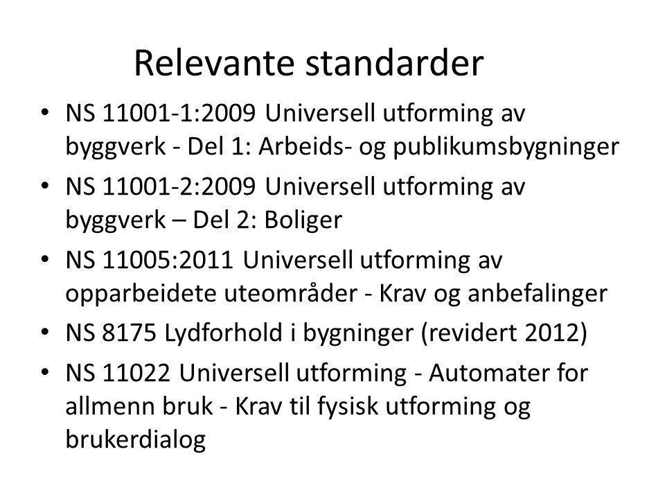 Relevante standarder NS 11001-1:2009 Universell utforming av byggverk - Del 1: Arbeids- og publikumsbygninger.